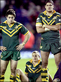 Australia's Anthony Minichiello and Willie Mason can hardly bear to watch after the comprehensive defeat