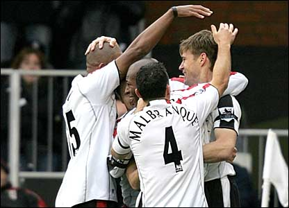 Fulahm celebrate taking the lead against Bolton at Craven Cottage