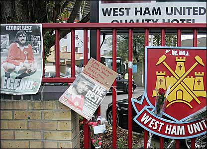 Makeshift tributes are left outside Upton Park as Best's old team face West Ham