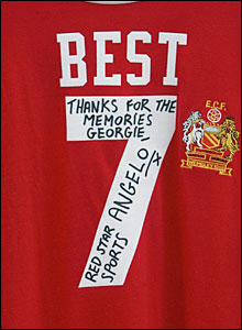 A replica of George Best's Manchester United shirt outside Old Trafford
