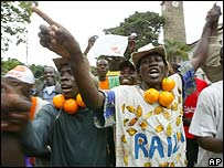 Supporters of the No vote celebrate their victory in Nairobi, Kenya