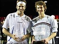 Greg Rusedski (left) and Andy Murray