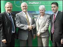 Richard Caborn, Sir Rodney Walker, Jan Wilson, and David Fletcher
