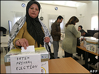 Voting in Fatah primaries in the West Bank
