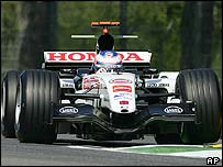 BAR's Jenson Button in action at Imola