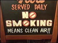 No smoking sign in a pub