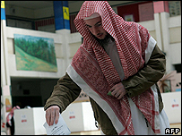 A Saudi man voting in recent municipal election