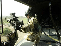 Gunner aboard a Puma helicopter (archive)