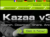 Screengrab of Kazaa homepage, Sharman Networks