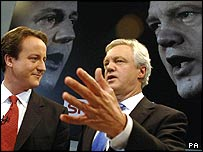 David Cameron and David Davis, pictured during a debate for Sky News