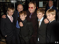 Sir Elton John (centre) with the Billy Elliot cast