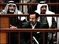 Former Iraqi leader Saddam Hussein in court