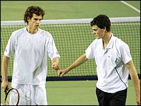 Andy Murray and brother Jamie in action at the weekend