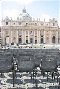 Chairs being set-up in St Peter's Square