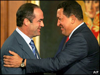 Venezuela's President Hugo Chavez and Spain's Defence Minister Jose Bono