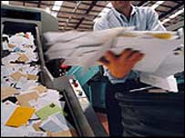 A mail sorting office. File photo