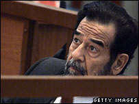Saddam Hussein in court, 28 November 2005