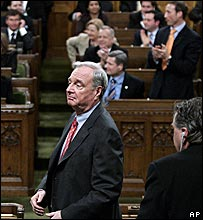 Canadian PM Paul Martin losing a no-confidence vote, 28 November 2005