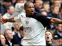 Collins John celebrates scoring Fulham's equaliser