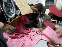 Fatah officials counting ballot papers