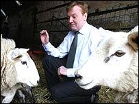 Charles Kennedy at a farm on Saturday