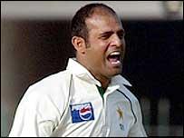 Rana Naved-ul-Hasan celebrates Kevin Pietersen's dismissal