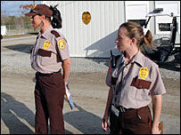 Security guards at the trailer camp in Baker, Louisiana