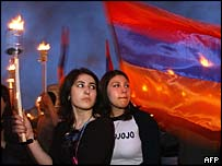 Armenian girls holding torches during 'genocide' commemoration