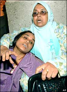Relatives of Gazipur bomb victims at Dhaka Medical College hospital