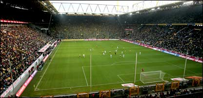 A view of the Westfalenstadion in Dortmund