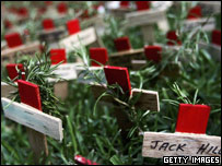 Crosses are placed in memory of family and loved ones in a field of remembrance in Sydney, Australia