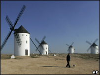 Windmills in Campo de Criptana in the La Mancha region of Spain