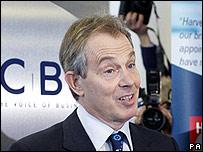 Tony Blair at the CBI conference