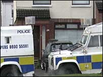 Several PSNI Land Rovers were parked outside the Ward family home