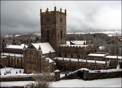 St Davids, Pembrokeshire, covered in a blanket of snow