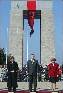 Turkish Prime Minister Recep Erdogan, New Zealand Prime Minister Helen Clark, left, and Anne Kelly, Australia's veterans' affairs minister