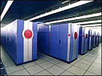 Banks of computer units.  Image: NEC