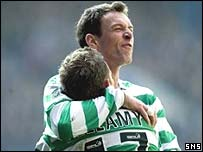 Chris Sutton and Craig Bellamy celebrate at Ibrox