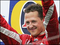 Michael Schumacher finished on the podium for the first time this season at Imola
