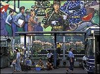 Burmese people waiting for a bus in Rangoon