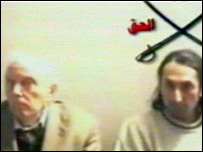 Video broadcast on al-Jazeera showing British hostage Norman Kember (l) and another hostage