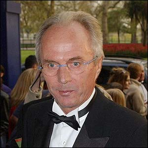 England boss Sven-Goran Eriksson arrives for the PFA Awards