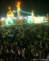 Iraqi pilgrims gather at the Shrine of Imam Abbas in the holy city of Karbala 20 September 2005