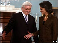 US Secretary of State Condoleezza Rice, right, and German Foreign Minister Frank-Walker Steinmeier