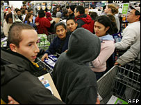 Shoppers crowd into Californian superstore
