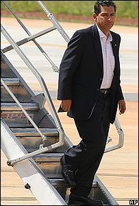 El ex presidente de Ecuador Lucio Guti�rrez llega a Brasilia