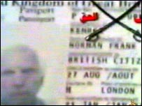 TV grab of what appears to be Norman Kember's passport