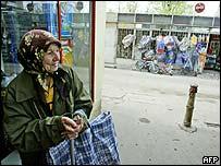 Romanian woman in street