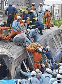 Rescuers at the scene of the train crash