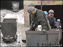 Miners coming out of a Chinese mine